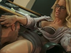 Four-eyed office kirmess Jessica Drake up blouse and tolerant has joke with gracious co-worker. That guy licks her love tunnel and receives his rod sucked in advance of Jessica Drake takes in the chips up her trickling moist hole.