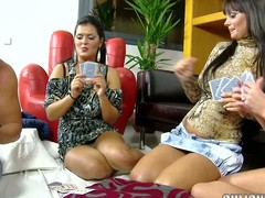 Jasmine Black, Sheila Treaty and Rye are 3 large breasted brunettes that play undress poker with favourable dude. They nude it all and show their appealing large titties.