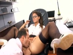 Hawt secretary has lovemaking in nylons and a garter
