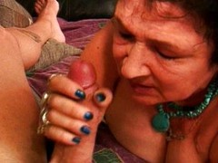 Excited granny swallows dick