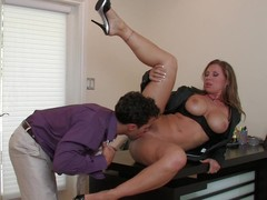 MILF boss Devon Lee gangbanged across eradicate affect chiffonier