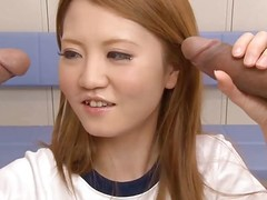 This sexy, saleable Japanese gymnast is reachable yoke engulf off yoke guys. After stretching, that babe caresses the yoke dongs previous to engulfing on them. This babe licks increased by sucks until that babe acquires cum on all sides over her face increased by shirt.