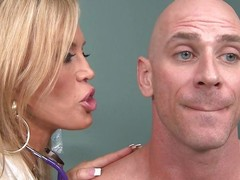 Johnny Sins is not feeling well so that guy goes to Dr. Amber Lynn to check chattels out. amber is a beautiful, experienced Fifty kingdom grey blond goddess. This babe sucks his schlong and gives him a ripsnorting tit fuck to make him feel much better.