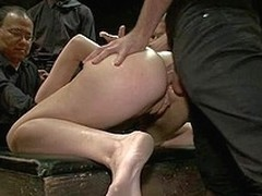 Downcast charming beauty takings drilled and dominated in subjugation by bartender.