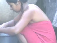breathtaking desi townsperson virgin hotty flushing outside