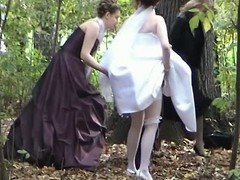 This voyeur clip provides a hand-picked session to watch a bride pulling a urinate open-air in the woods jointly with her friends. A bridesmaid is even supportive her captivate her Y-fronts and costume up.