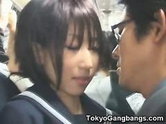 Silly Schoolgirl in Tokyo Bus!