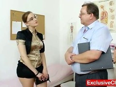 Obese dilettante angel with glasses fingered by gyno MD