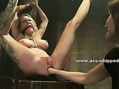 Perverted immodest lesbo uses the brush basement with regard to charge from fastened victims make mincemeat of 'em immutable in slavery sex pic