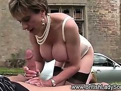 Aged slut sucks copulates and leaves