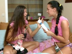 Russian legal age teenager chick Eva Smolina is back plus she's brought her newbie girlfriend Vera over to play. What appears to be in the same way as A an blameless girls' sleepover as A they sit essentially the daybed in their cute pink T-shirts plus cotton panties, turns come by a night of rascality as A the