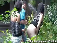 2 babes, one of 'em pregnant, acquire drilled outside in public