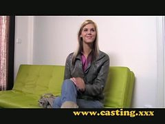 Casting - Very slender legal age teenager takes a large one