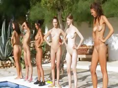 Six in nature's garb cuties away unfamiliar the pool unfamiliar poland