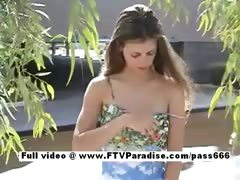 Outstanding angel Stacey lengthy hair redhead angel masturbating outdoors