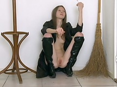 Marvelous and XXX sweetheart in knavish boots is way their way kitty