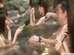 Shy Japan schoolgirl open-air interview