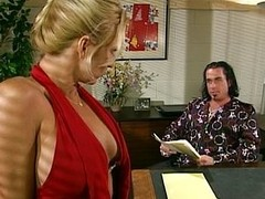 Blonde office bitch engulfing her boss retire from