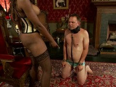 Nyomi Banxxx the ebon female-dominator tortures guy's balls with the addition of shlong