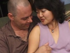 Kimburly blows and acquires her unshaved Oriental vag fucked from behind