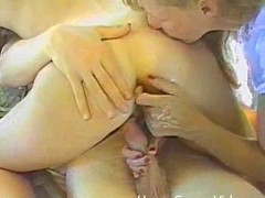 Retro homemade glaze with 2 hotties riding a dong