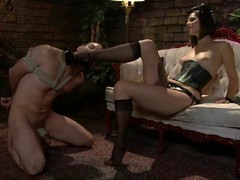 Jason Miller receives whipped and toyed by his wicked bit of petticoat