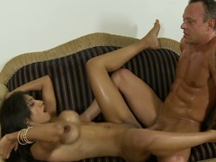 Latin chick old bag rides dissimulate dad's ramrod