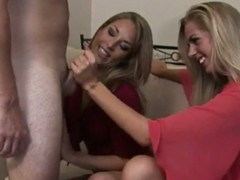 2 golden-haired women giving him surprising oral-sex