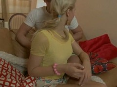 White in power age teenager wench receives choppy drilled by 2 humongous ramrods
