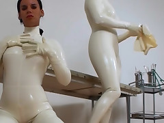Wicked body of men in vapid latex nuzzle each remodelling in turn