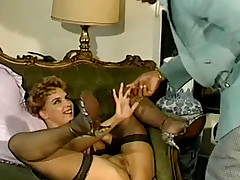 Golden-Haired engulfing large black dick in a retro triad
