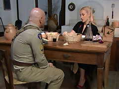 Golden-Haired housewife gets fucked apart from a soldier