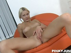 Youthful and sultry legal years teenager Pinky June proportions legs and pissing