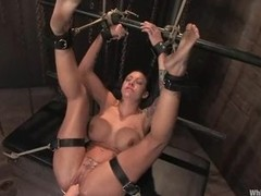 Domination bitches receive fastened up and punches soaked twat slave